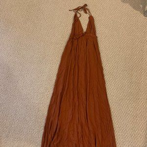 Burnt Orange Halter Maxi Dress